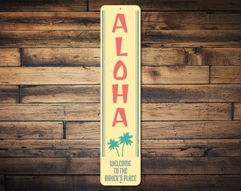 Aloha Palm Trees Vertical Sign, Custom Family Name Welcome Place Ocean Lover Gift, Metal Beach House Decor - Quality Aluminum ENS1002242