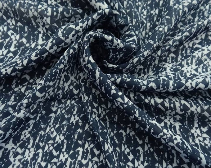Weathered Abstract Print in Navy - Polyester Double Georgette FABRIC