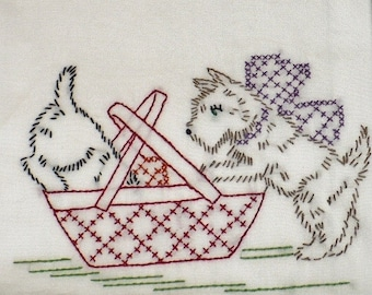 Terriers With a Picnic Basket Dish Towel