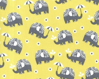 Michael Miller Water For Elephants Citron Flannel Fabric, 1 yard