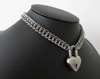 Stainless Steel Locking Chainmail Necklace - Minimalist Half-Persian Chainmail Heart Padlock Choker - Discrete Bdsm Day Collar