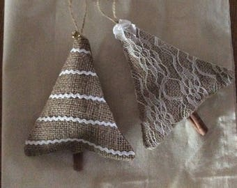 Burlap and Lace Christmas Tree Ornaments set