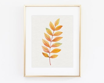 Botanical print - Autumn leaf print - Botanical print set - Printable botanical art - Scandinavian modern print - Botanical poster