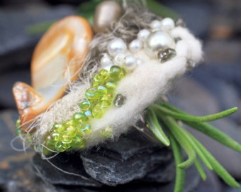 Felted Eco Chic Upcycled Cocktail Ring, FERN | Bohemian Wearable Art in Harmony with Nature
