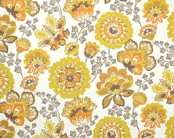 Retro Wallpaper by the Yard 60s Vintage Wallpaper - 1960s Yellow Brown and Orange Floral on White