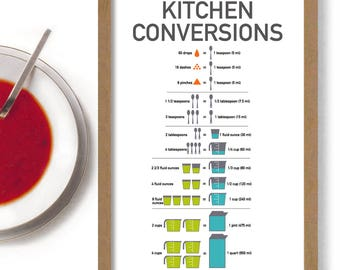 Kitchen Conversion Chart Cooking Gift 11x17 Print Recipe Conversion Measuring Guide Baking Chart Vintage Spoon Cook Foodie Gift Cooking Art