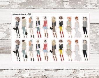 Light Skin Fashionista Babes planner stickers