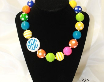 Personalized Monogram Chunky Bubblegum Bead Necklace, Gift for girls, Easter gift, Easter necklace, kids necklace, easter basket filler