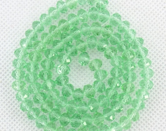 100 Pieces,Faceted Light Green Crystal Glass,Light Green Crystal Beads,One Full Strand,Crystal Beads,Gemstone Beads--6mm--17 inches--BR022