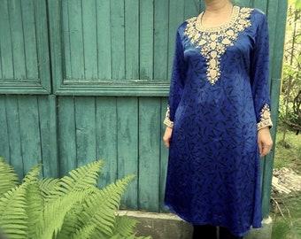Blue silk embroidered dress Indian Kurta East Ethnic long kurta women Festival BOHO Hippie dress plus size Bohemian Gypsy dress size XL