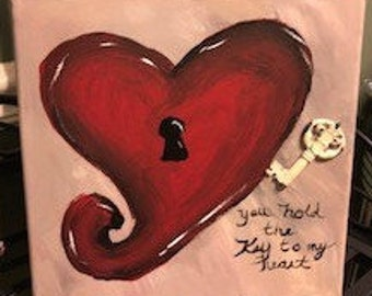 12x12 Key to my Heart canvas painting