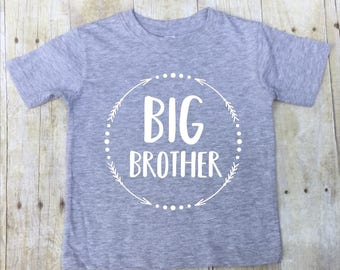 Big Brother Shirt-Big Brother T-Shirt-Sibling Shirt-Pregnancy Reveal-New Baby Announcement Shirt-Big Bro-Big Brother Jersey-Gray T-shirt