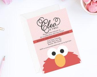 Elmo Invitation   Pink Elmo Invite   Elmo Birthday Party Invitation   Sesame Street Invitation   Sesame Street Birthday Party