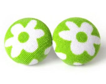 Neon green earrings - bright stud earrings - fabric button earrings - lime post earrings - spring gift - bright harlequin white flower