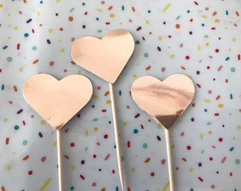 Cupcake Toppers - Hearts Pack of 12