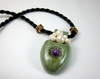 Vase Pendant, Green Pocket Vase with Pearls,