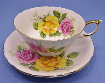 Vintage Paragon Tea Cup and Saucer, Yellow and Pink Cabbage Rose Tea Cup, Paragon Cabinet Tea Cup, Made in England ~ 1960
