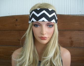 Women's Headband Fabric Headband SummerFashion Accessories Women Headwrap Yoga Headband in Black and White Chevron print