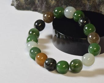 Premium Mixed Color Nephrite Jade Bracelet - 1
