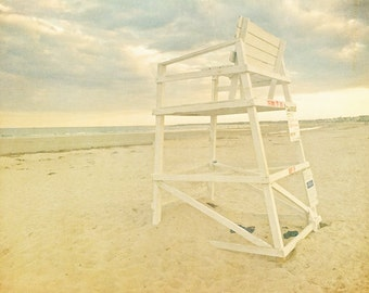 Beach photograph, nautical decor, lifeguard chair, pastel, Maine beach photo, ocean sunset, muted, beachscape, ocean photography