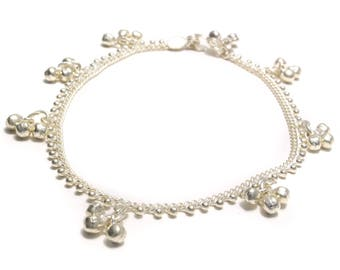 Anklet with bells and silver beads