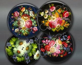 "3.5"" colourful flowers fridge magnets, , set of 4 floral magnets, kitchen decor, large fridge magnet"