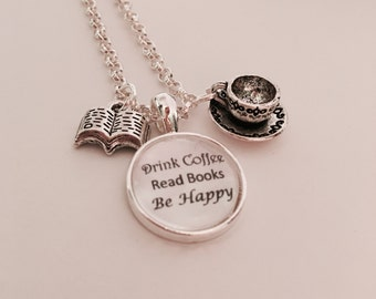 Coffee and books lover charm necklace