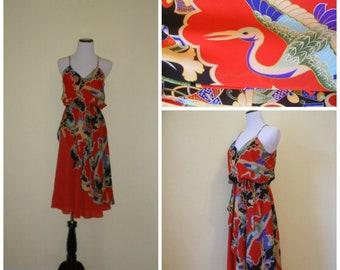 80s sundress, Asian art deco print featuring flying cranes, red flowy skirt under-panel, dance floor date dress. Size S-M.