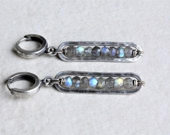 Sterling silver labradorite earrings, oxidized silver earrings, labradorite drop earrings, gemstone earrings, artisan jewelry