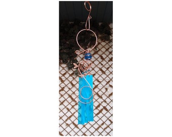 Wind Chime - Dragonfly Wind Chime - Stained Glass Wind Chimes - Outdoor Decor - Garden Decor- Windchime - Copper Wind Chime - Garden Art