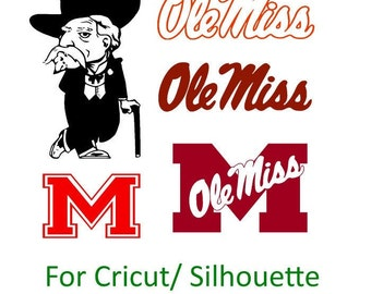 University of Mississippi Ole Miss Rebels Decal SVG Cut Files Instant Download