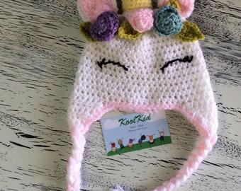 Unicorn Childs Crochet Hat