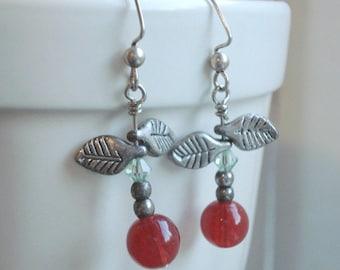 Cherry Earrings  Red Dangle Earrings Jewelry, Red Dangle Earrings Silver Leaf Earrings