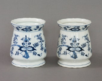 Two Blue Danube porcelain vases with Zwiebelmuster pattern