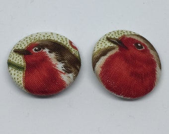Buttons, Set of Buttons, Robin Buttons, Christmas, Fabric Buttons, Fabric Covered Buttons, Robin, Bird Lover, Craft, Sewing,