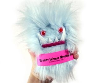 Children's monster notebook, Worry Woolie a pink blue, fuzzy, magical book