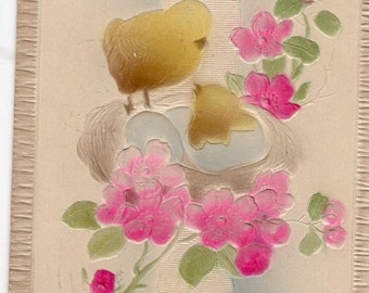 Easter Vintage Postcard, Chicks in nest on cross, lovely embossing and pink flowers