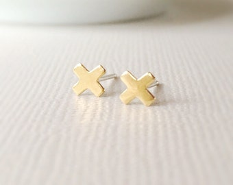 Gold X Earrings ~ Tiny Brass Geometric Kiss Studs ~ Minimal Everyday Post Earrings
