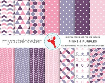 Pinks & Purples Digital Paper Set - patterned paper, triangle, arrows, scallop, polka - personal use, small commercial use, instant download