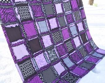 Zebra Bedding - Black / Purple Bedding - Available in Twin / Full / Queen / King Size - Dorm Bedding Girls Bedroom -  Rag Blanket- Rag Quilt