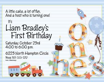 He's One Boy Celebration Party Invitation, First Birthday 1st Birthday Bash Invitation,Boy Birthday Announcement, Digital Invitation, IV1118