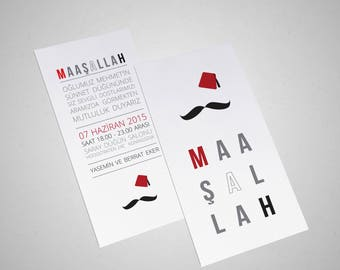 Typography Masallah and FES and moustache/circumcision ticket