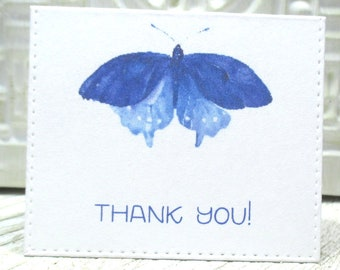 Blue Butterfly mini thank you notes - Set of 20 - Trending - Folded - Embossed edge - Order enclosure card - Business - 2 X 2.25 inches