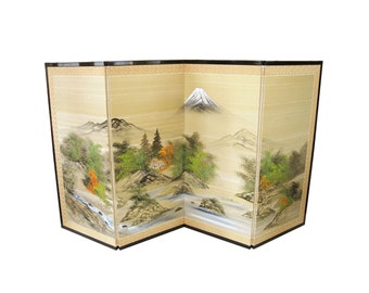 Large-Scale Hand Painted 4-Panel Folding Asian Screen
