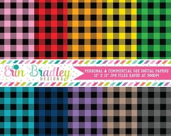 80% OFF SALE Buffalo Check Digital Paper Pack Set 2 - 40 Colors - Instant Download Commercial Use Graphics Digital Scrapbook Paper Pack in P