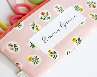 Personalize Any Apple White Pouch,  Personalize Zipper Pouch, Add a Name, Customize Name, Pencil Pouch, Add a Phrase to Your Pencil Bag