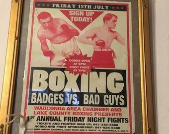 Vintage Frame with Boxing Picture, Cops vs Bad Guys