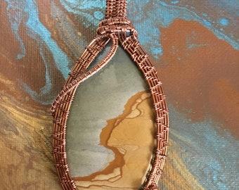 Picture jasper oxidized copper wire weave