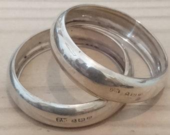 Vintage sterling silver plain napkin rings
