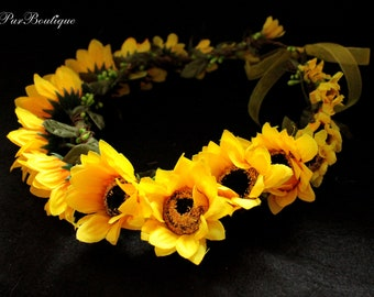 Sunflower Flower Crown,Yellow Flower Girl Headpiece,Country flower,Wooden Wedding Headband,Sunflower Headpiece,Elegant Bridal Hair Piece